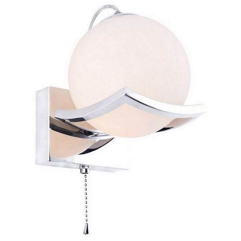 Lampara de Pared Pepo Apliques - Esferica - Cromo en Vidrio, Metal, 12 x 15 x 15 cm, 1 x E14, Max 40W