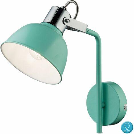 Lámpara de pared retro foco de iluminación conjunto verde menta giratorio que incluye bombillas LED