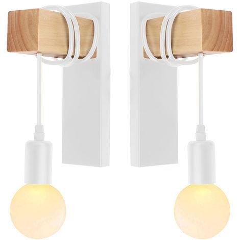 Lámpara de Pared Retro Moderna Luz de Pared de Madera Creativa Arte de madera Aplique de Pared de Madera (2 paquetes) para Dormitorio Cafe Loft Bar Blanco