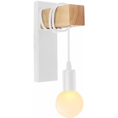 Lámpara de Pared Retro Moderna Luz de Pared de Madera Creativa Arte de madera Aplique de Pared de Madera para Dormitorio Cafe Loft Bar Blanco