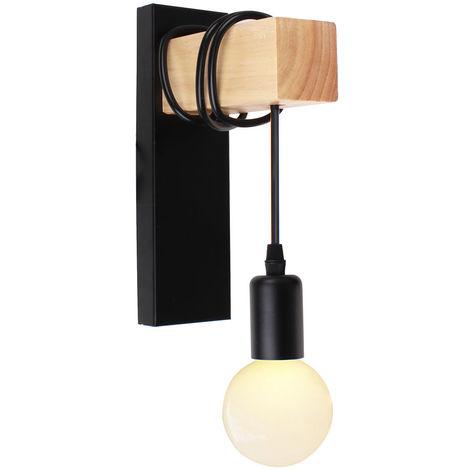 Lámpara de Pared Retro Moderna Luz de Pared de Madera Creativa Arte de madera Aplique de Pared de Madera para Dormitorio Cafe Loft Bar Negro