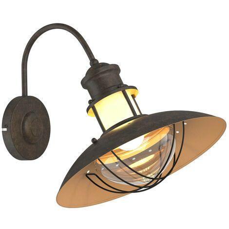 Lámpara de pared rústica Louisanne, marrón oxidado