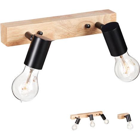 Lámpara de Pared, Rústica, Retro, Iluminación de Techo, E27, 2 Focos, Metal, 1 Ud., Negro