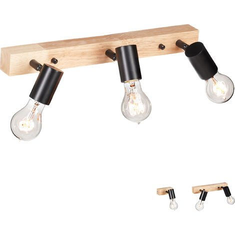 Lámpara de Pared, Rústica, Retro, Iluminación de Techo, E27, 3 Focos, Metal, 1 Ud., Negro