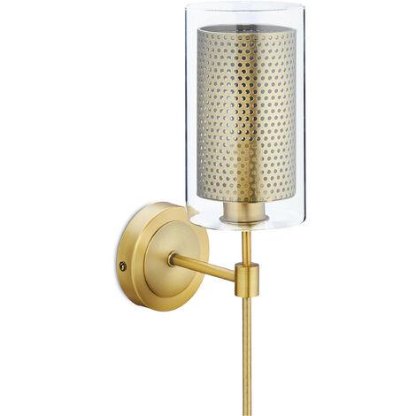 Lámpara de pared, Rústica, Un foco, Cristal & Metal, E14, Vintage, 35 x 10 x 16 cm, Dorado