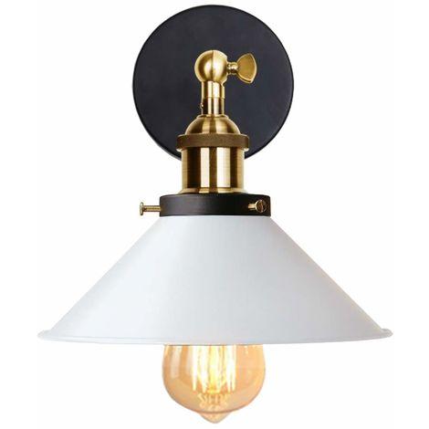 Lámpara de Pared Saucer Olla Tapa Aplique Sconce Ø22cm con Estilo Industial Vietnam Sombrero Ángulo recto Cono Creativo Cafe Loft (Blanco)