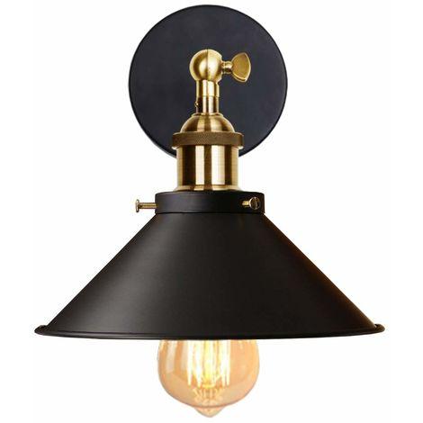 Lámpara de Pared Saucer Olla Tapa Aplique Sconce Ø22cm con Estilo Industial Vietnam Sombrero Ángulo recto Cono Creativo Cafe Loft (Negro)