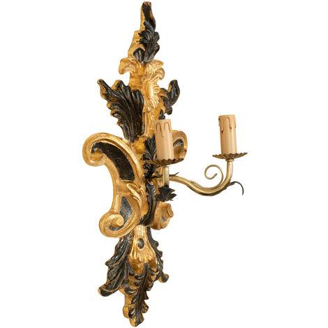 Lámpara de pared Shabby en madera y acabado de hierro hoja de oro hecho en Italia