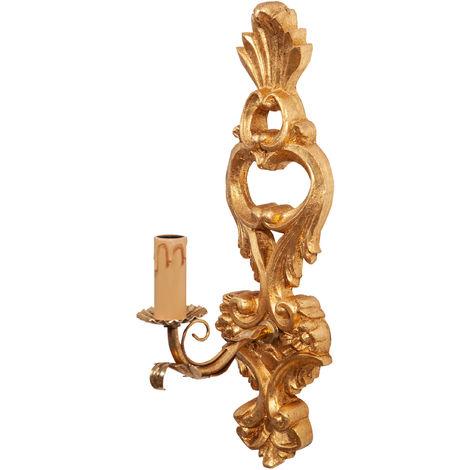 Lámpara de pared Shabby en madera y acabado en hierro hoja de oro hecho en Italia