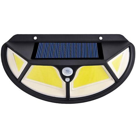 Lampara de pared solar 122 LED COB sensor de movimiento de energia solar luz montada en la pared de la lampara 3 modos de iluminacion induccion del cuerpo humano sensible Control de luz de iluminacion 30©O rango IP65 de resistencia al agua para jardin Pat