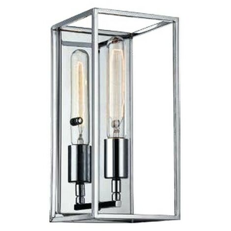 Lampara de Pared Telaio - Aplique - para la sala de estar, la habitacion - Transparente, Cromo en Metal, Vidrio, 15 x 15 x 30 cm, 1 x E27, Max 60W
