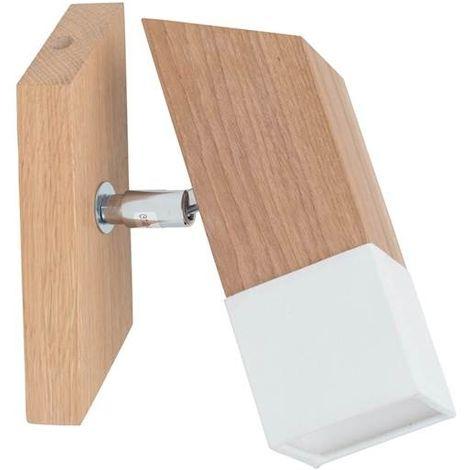 Lampara de Pared Tower - Aplique - para la sala de estar, la habitacion - Roble, Cromo, Blanco en Madera, Metal, Tela, 17 x 6 x 19 cm, 1xLED GU10 4,5W - 360 Lumen 3000K