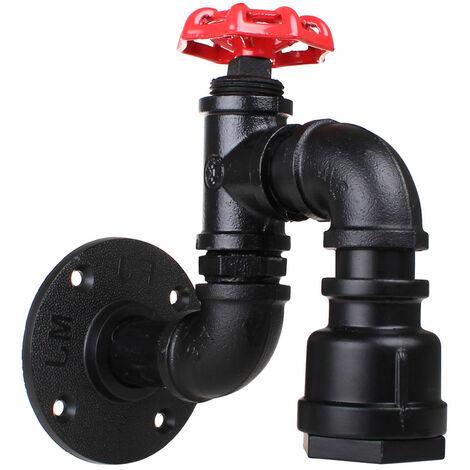 Lámpara de Pared Tubería de Agua Creativo Vintage Aplique de Pared Industrial Retro Luz de Pared Hierro E27 60W para Restaurante Café Bar,Negro