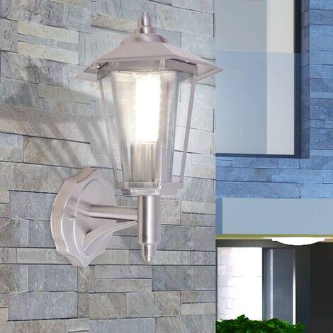 Lámpara de pared vertical para exterior de acero inoxidable - Plateado