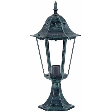 Lámpara de pedestal de jardín con pedestal para exteriores con efecto de llama verde negro en el juego, incluidas bombillas LED