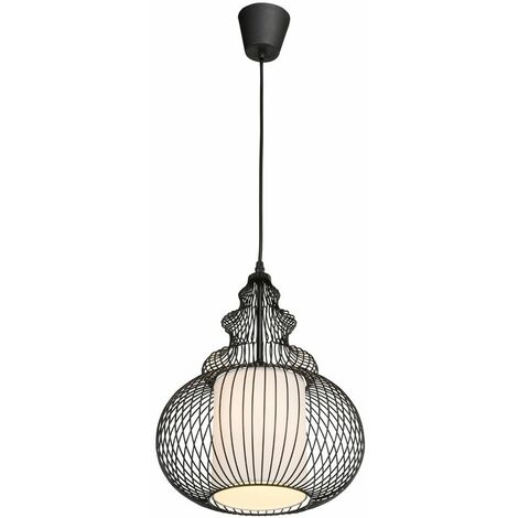 Lámpara de péndulo salón comedor textil colgante plafón rejilla negro Globo 15235
