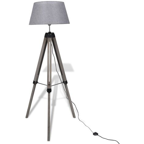 Lampara de pie ajustable de madera tipo tripode con pantalla gris