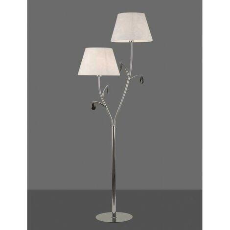 Lámpara de pie ANDREA cromo con pantalla blanca