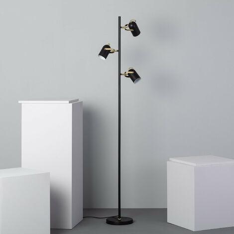 Lámpara de Pie Cano 3 Focos Negro Negro