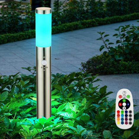 Lámpara de pie con cambio de color del sensor de luz exterior de acero inoxidable en un conjunto que incluye un iluminante LED RGB de 7.5 vatios