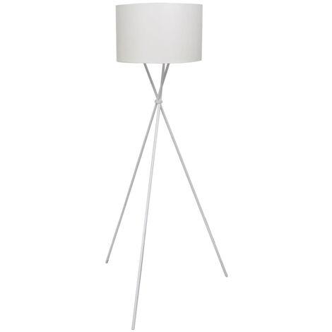 Lámpara de pie con pantalla y soporte blanco