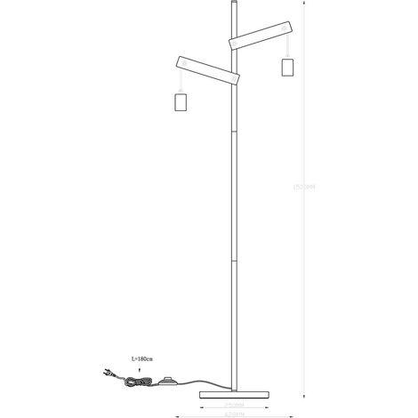 Lámpara de pie con soporte de madera, iluminación natural para el comedor, focos laterales, cuerda de cáñamo, lámpara retro vintage