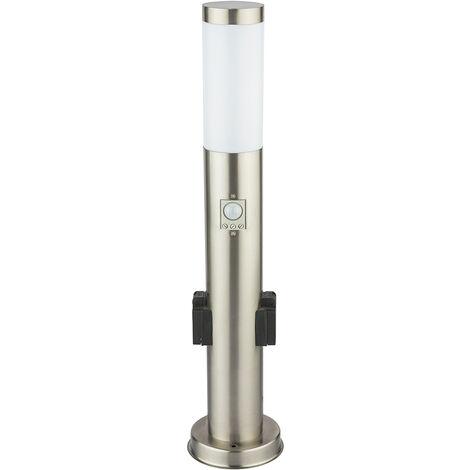 Lámpara de pie de acero inoxidable enchufes para exteriores detector de movimiento luz de camino de jardín plata V -TAC 8977