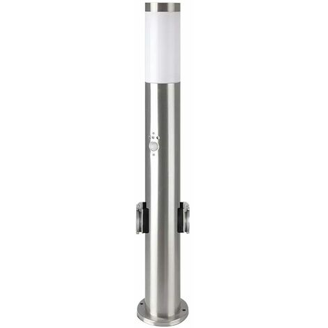 Lámpara de pie de acero inoxidable enchufes para exteriores detector de movimiento luz de camino de jardín plateada en un juego que incluye bombillas LED