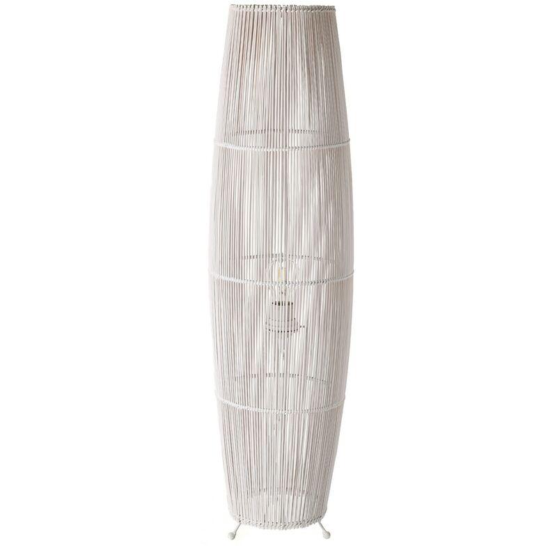 Lámpara de pie de cañas exótica de bambú y metal blanca de 88x24x24 cm