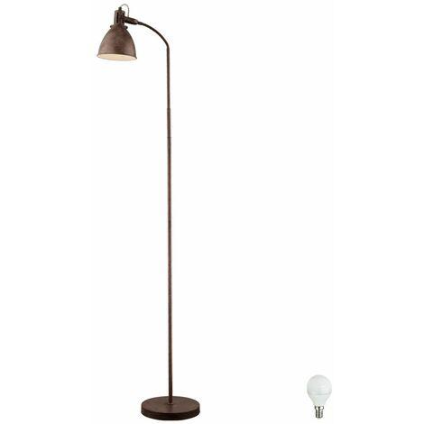 Lámpara de pie de estilo rural lámpara de pie oxidada proyector de luces de brazo flexo que incluye bombillas LED