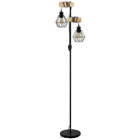 Lámpara de pie de metal vintage y soporte de madera 220-240 V IP20   hierro