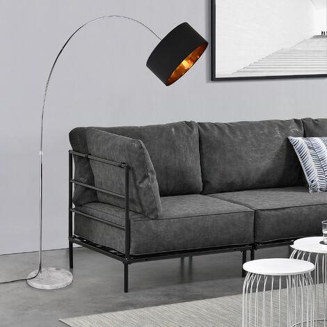 Lámpara de pie - elegante - iluminación luz de día - gris oscuro y color latón - 230 cm