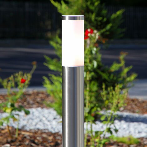 Lámpara de pie forma cilindro Kristof, acero inox