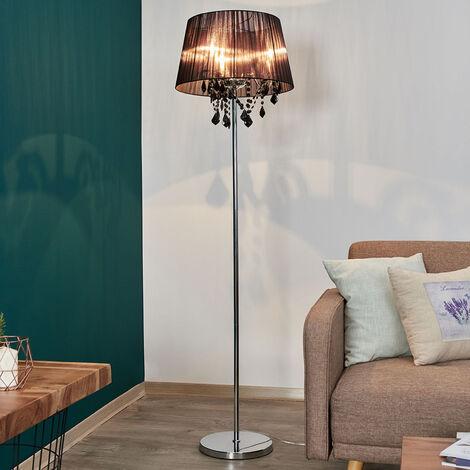 Lámpara de pie Inaya con pantalla textil negra