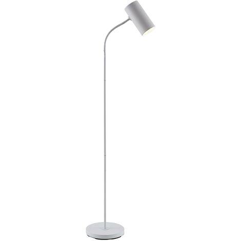 Lámpara de pie Karoli con brazo flexible en blanco