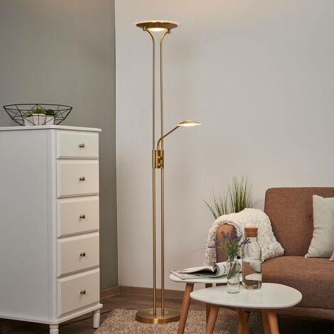 Lámpara de pie LED Aras color latón luz de lectura
