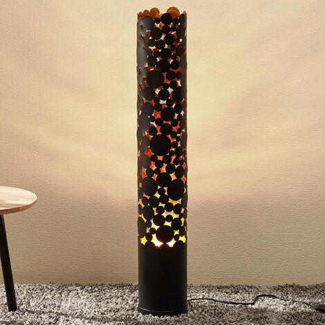 Lámpara de pie LED Coins, efecto flameante, negro