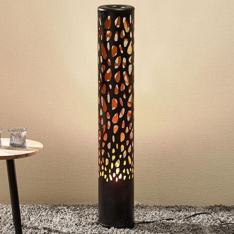 Lámpara de pie LED Organic negra con Flame Bulb