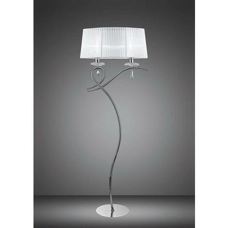 Lámpara de pie Louise 2 focos E27 con tulipa blanca cromo pulido / cristal transparente