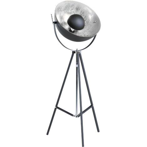 Lámpara de pie negro/plateado THAMES II