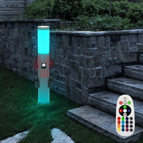 Lámpara de pie para exteriores, detector de movimiento, enchufes CONTROL REMOTO Luz en un juego que incluye lámparas LED RGB