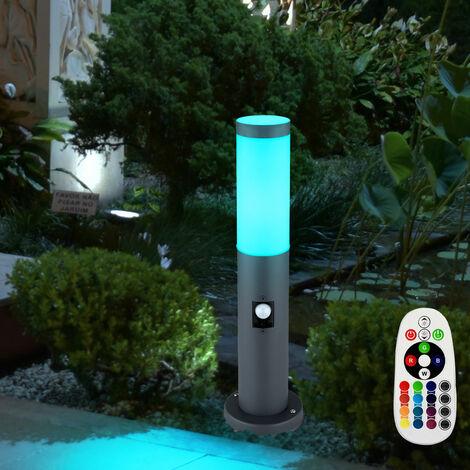 Lámpara de pie para exteriores, detector de movimiento, luz de acero inoxidable para patio, en un juego que incluye bombillas LED RGB
