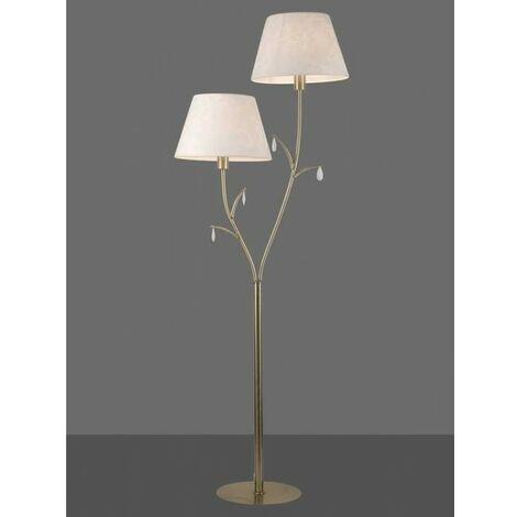 Lámpara de pie para salon en dorado envejecido ANDREA 2 luces