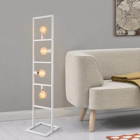 Lámpara de pie Plauen - con 4 Focos - Moderna - Diseño - Altura 142,5 cm - Iluminación interior - Luz efectiva - Blanco - 4 x E27 - 60W