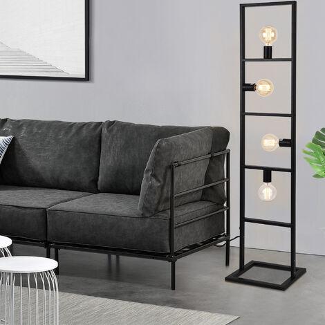 Lámpara de pie Plauen - con 4 Focos - Moderna - Diseño - Altura 142,5 cm - Iluminación interior - Luz efectiva - Negro - 4 x E27 - 60W