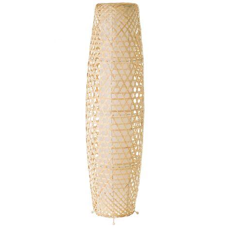 Lámpara de pie rústica de bambú beige de 88x23x23 cm