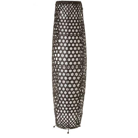Lámpara de pie rústica de bambú negra de 88x23x23 cm