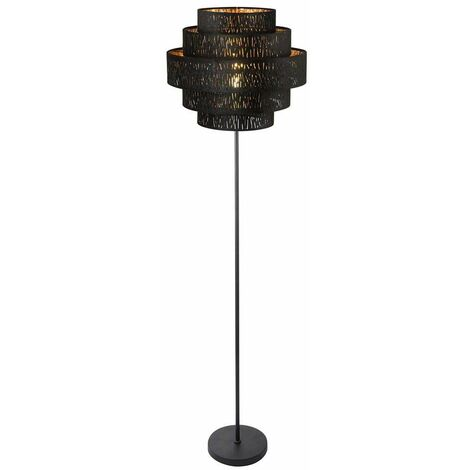 Lámpara de pie Sala de estar Comedor Tela de lectura Decoración Lámpara de reflector de techo ORO NEGRO Globo 15264S2