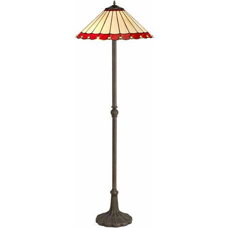 Lámpara de Pie Tiffany Calais 2 Bombillas Rojas 40,5 Cm