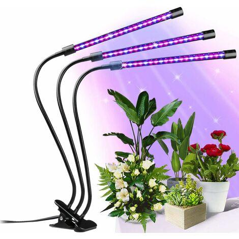 Lámpara de planta LITZEE 30W 【nueva versión】 6 niveles regulables y 3 modos de temporizador lámpara de crecimiento, lámpara LED para horticultura con cuello de cisne ajustable 360 ° para plantas de interior, flores y verduras